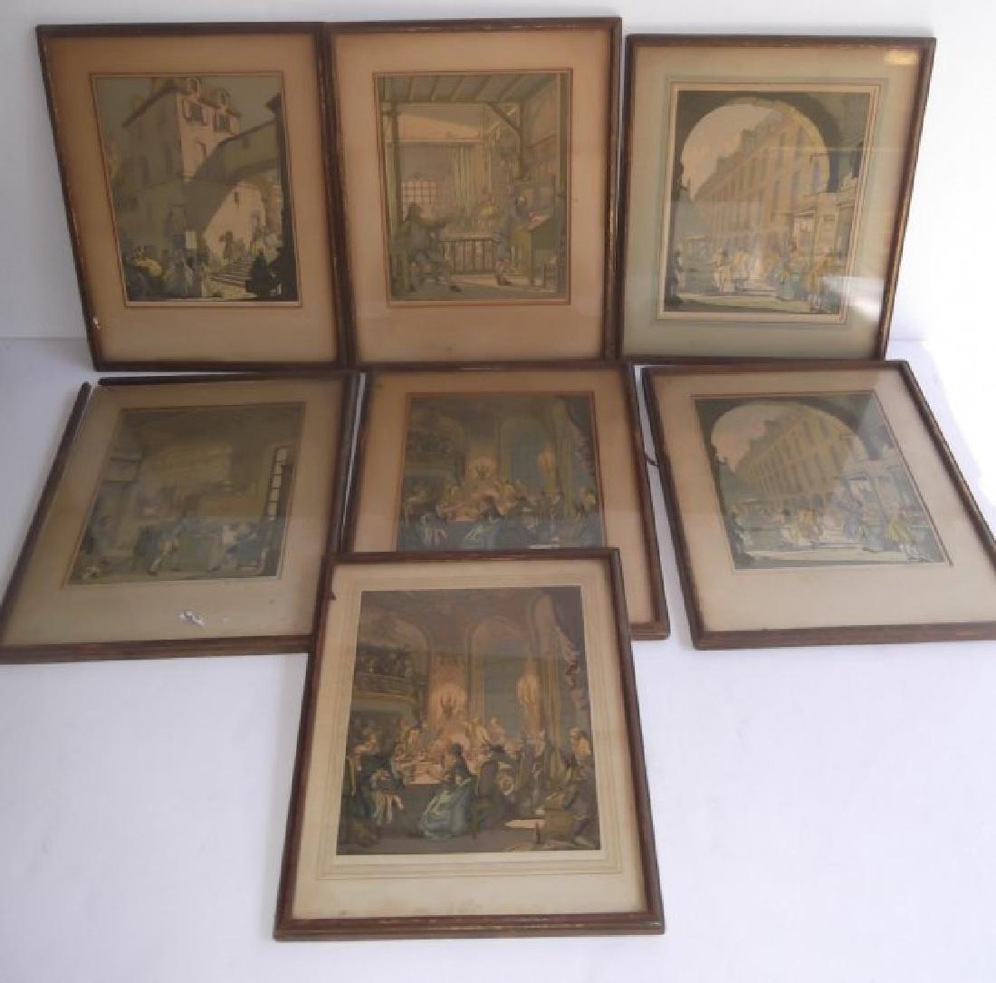 7 vintage mezzotints