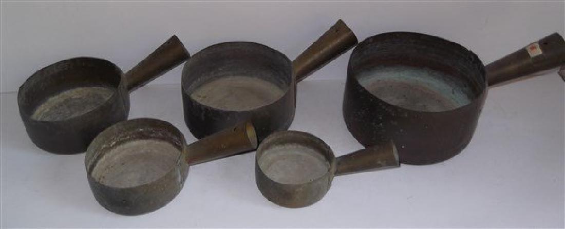 Set of 5 brass nesting pots