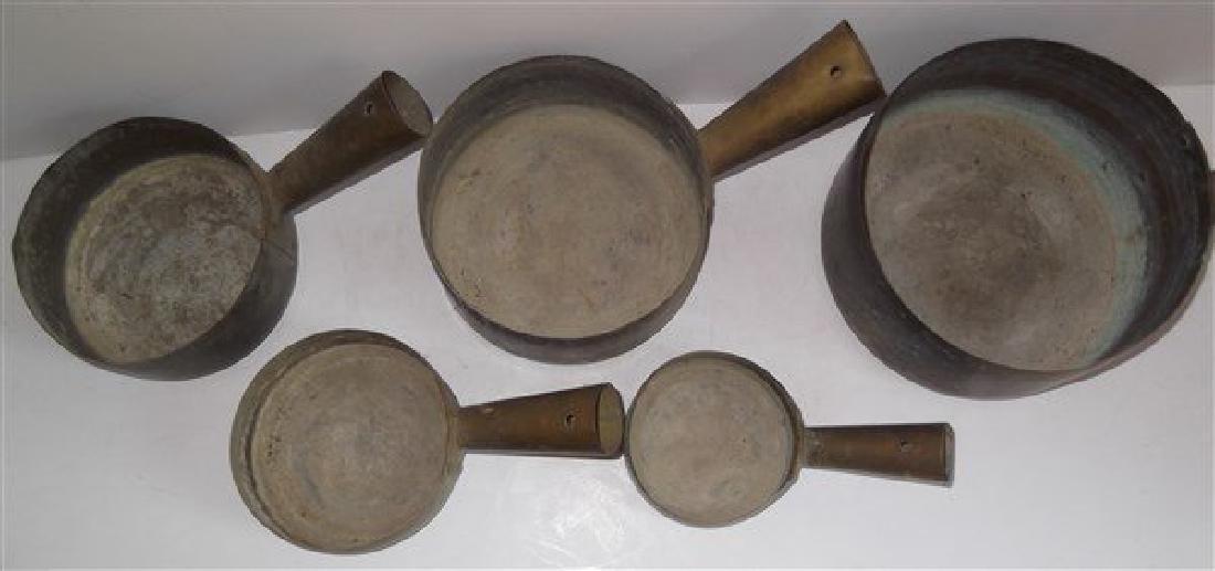 Set of 5 brass nesting pots - 4