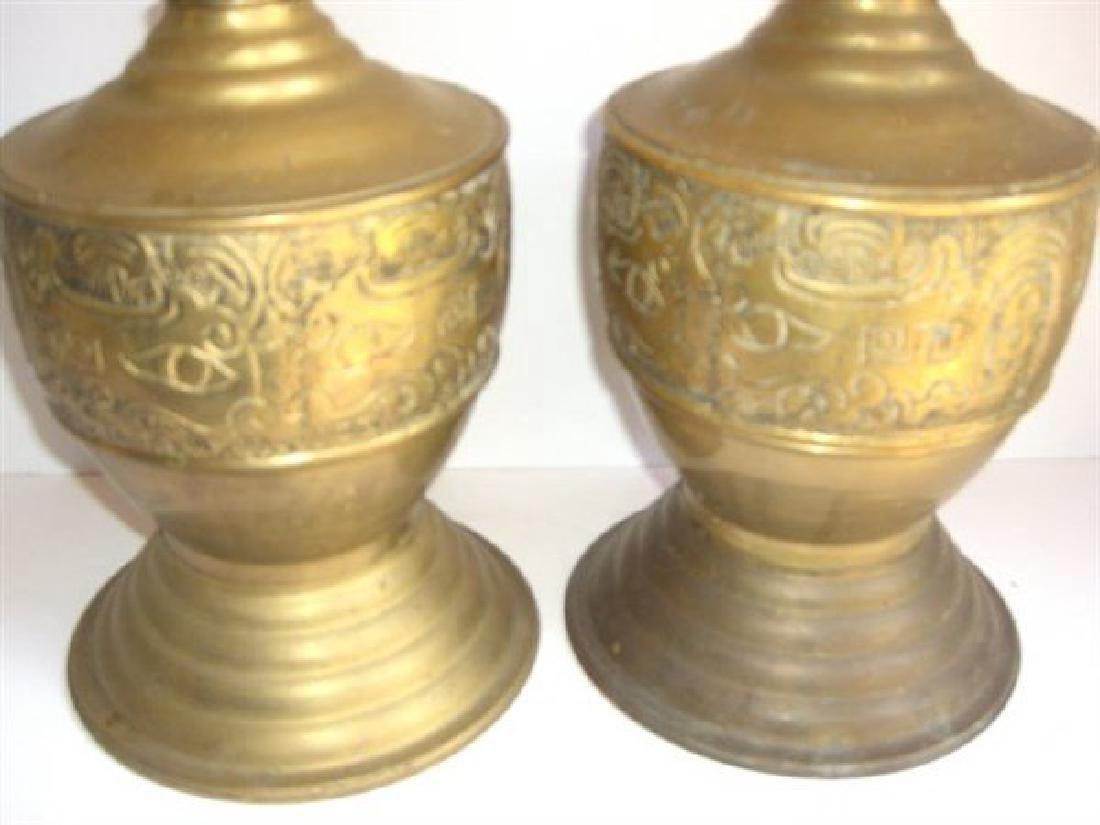 Pair of large brass brass candlesticks - 2