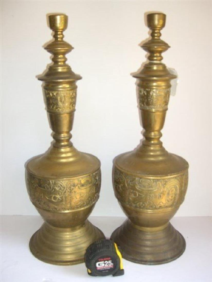 Pair of large brass brass candlesticks - 3