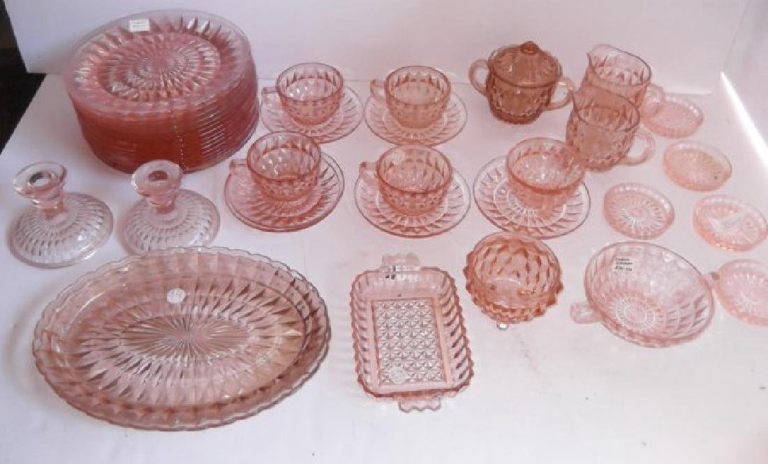 Collection of 42 pieces of pink depression