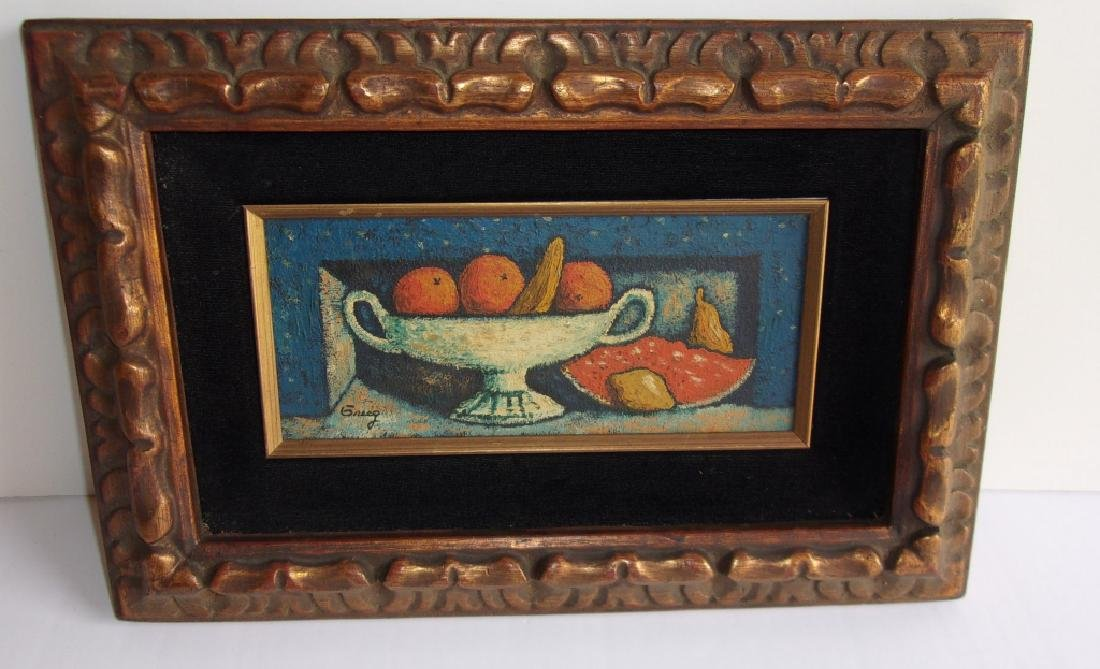 Oil on board fruit still life signed Greeg