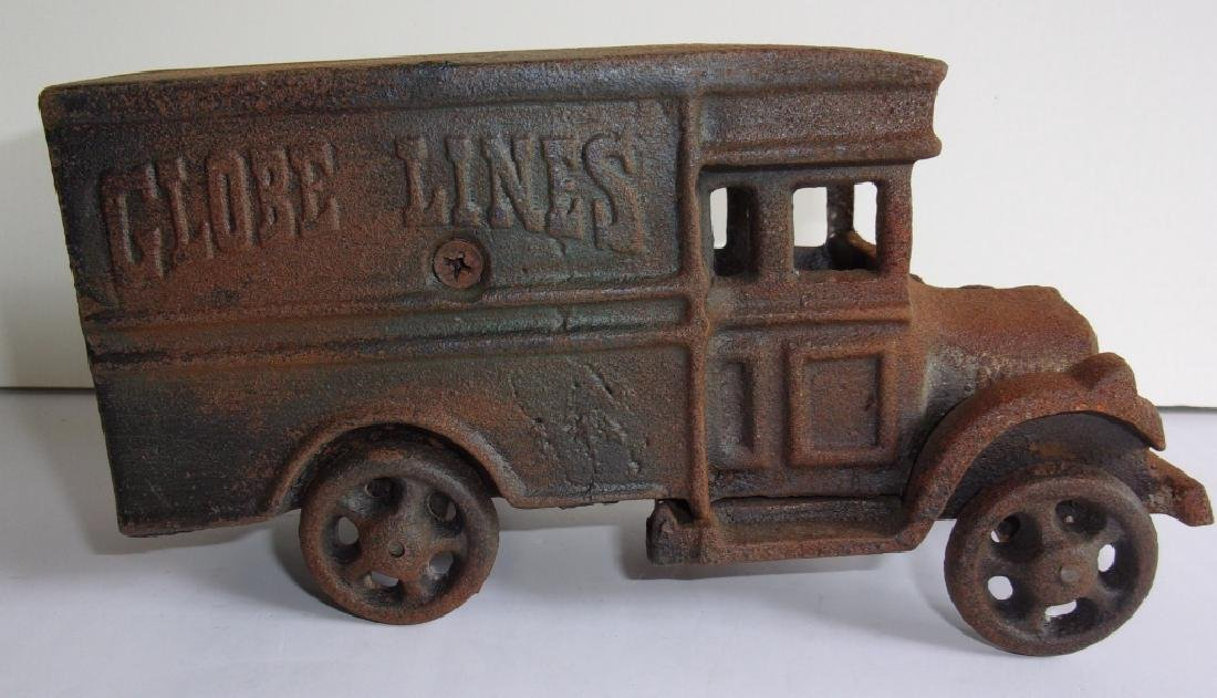 Globe lines cast iron milk truck