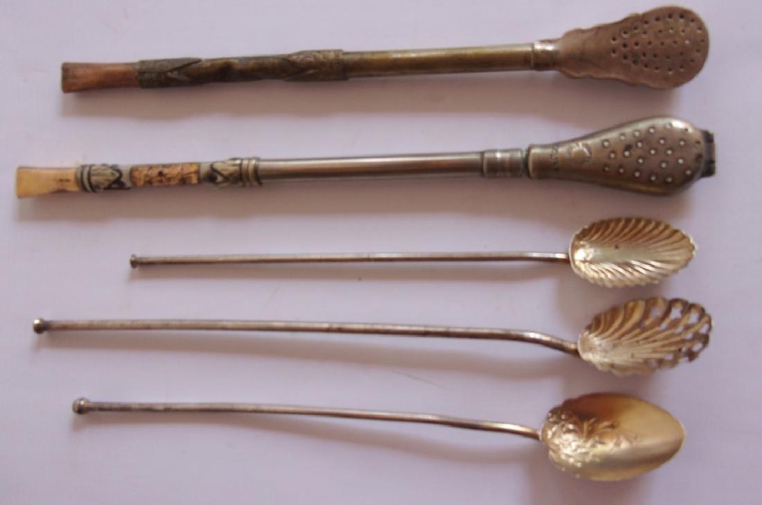 5 vintage tea straws & spoons