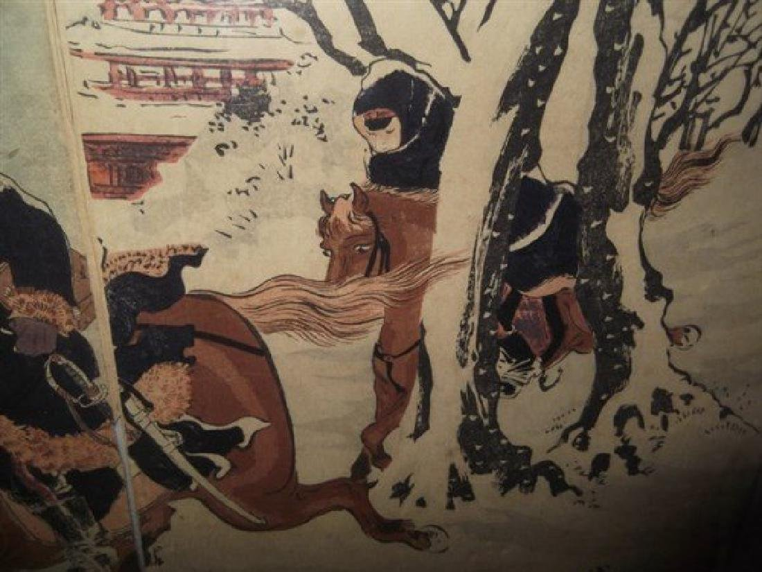 Japanese woodblock triptych - 4