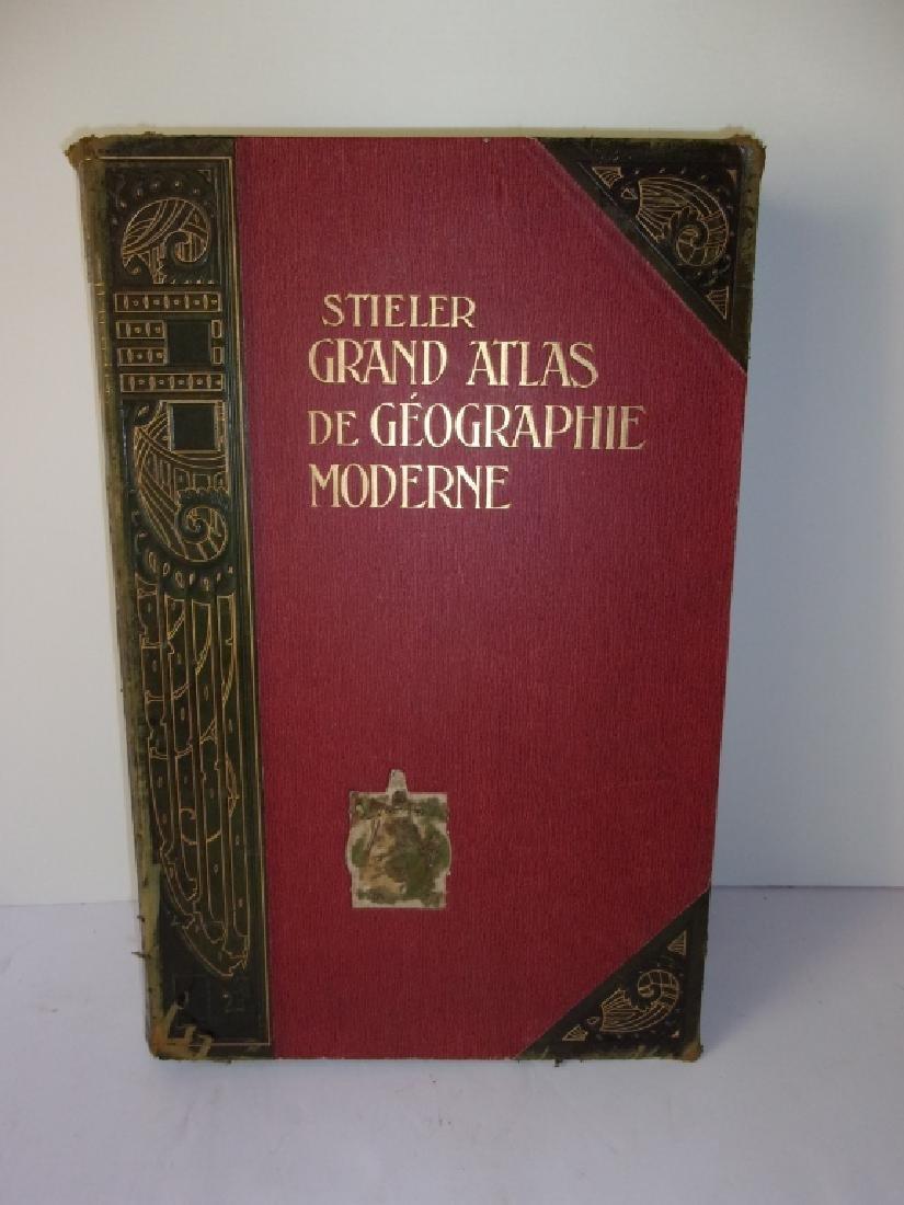 1909 Stieler grand atlas de geograpie moderne book