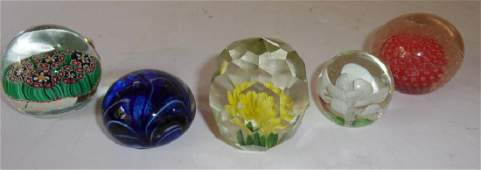 5 vintage hand made paperweights