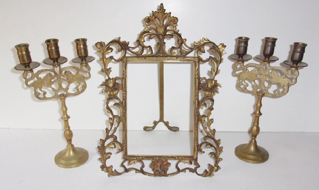 3 piece ornate brass lot