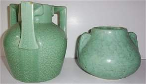 2 hand made American green pottery vases
