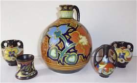 5 piece pottery vase lot