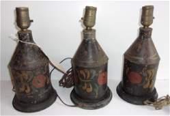 3 Pennsylvania Dutch hand paint metal lamps