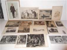 18 pieces 19th20th c engravingsetchingsprints