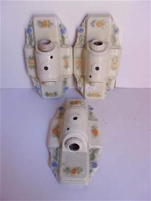 3 Art Deco porcelain wall light fixtures