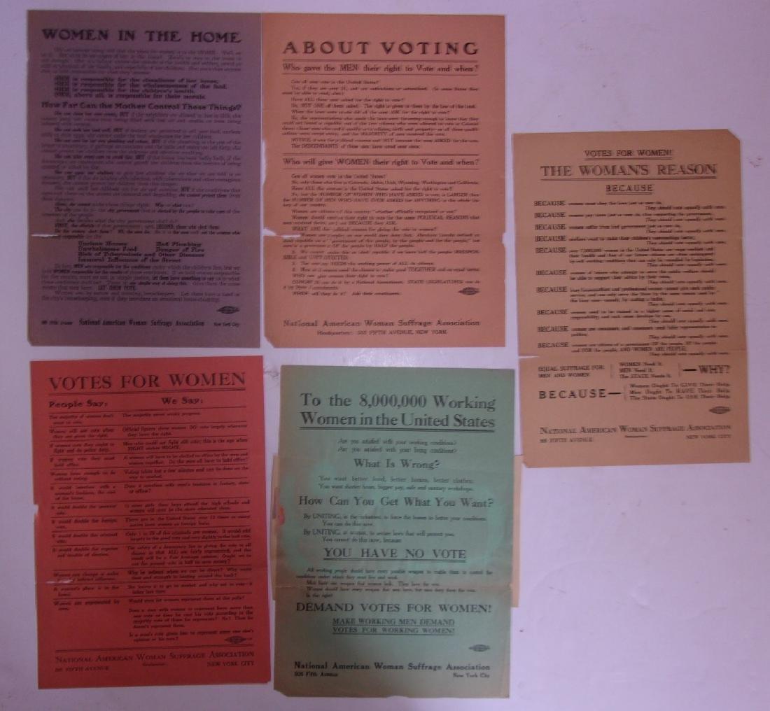 5 original woman's suffrage pre-1920 broadsides