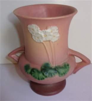 Roseville floral double handed vase