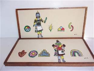 2 Kachina painted artworks