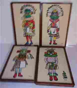 4 Kachina painted artworks
