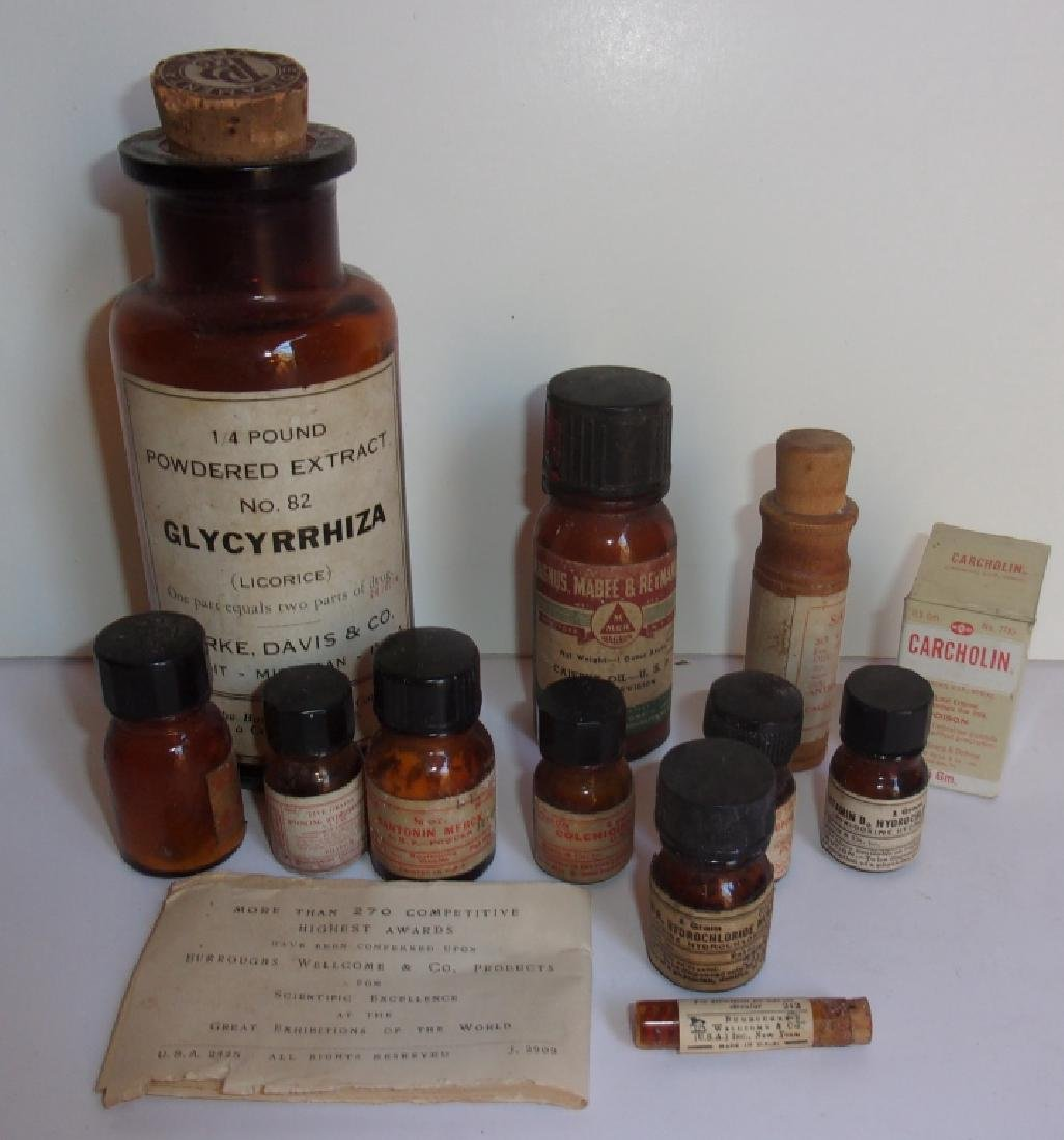 Collection of vintage pharmacy bottles