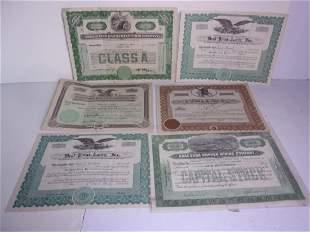 6 piece stock certificate lot