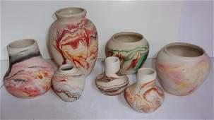 7 Nemadji  pottery vases