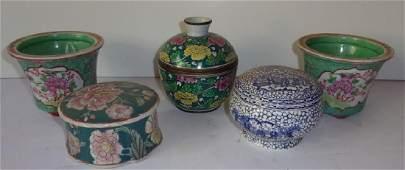 5 vintage Asian planters vase covered bowls