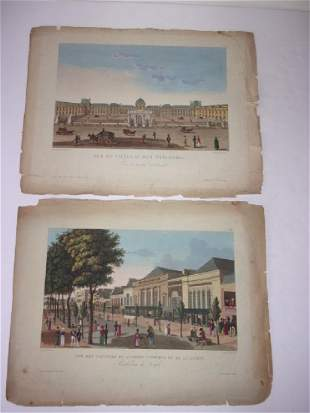 2 antique 19th century colored engravingsetchings