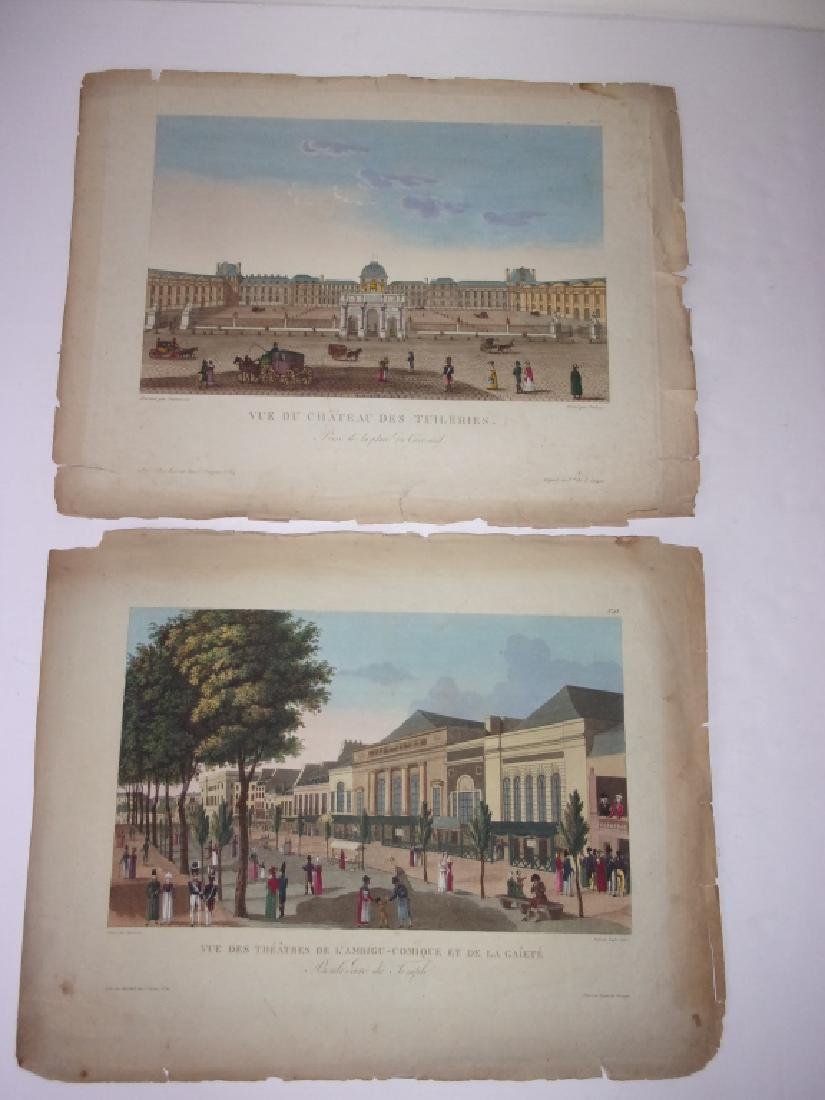 2 antique 19th century colored engravings/etchings