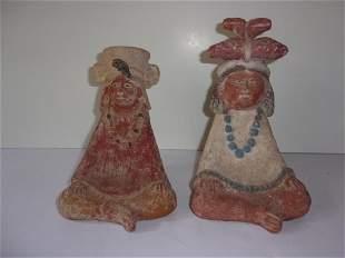 2 Vintage Mezzo American Pottery figure