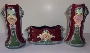 3 piece Czechoslovakia vases center bowl