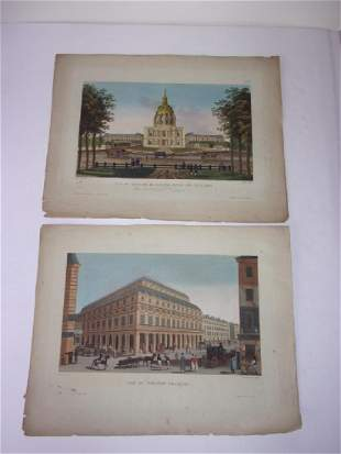 2 antique 19th c colored engravingsetchings