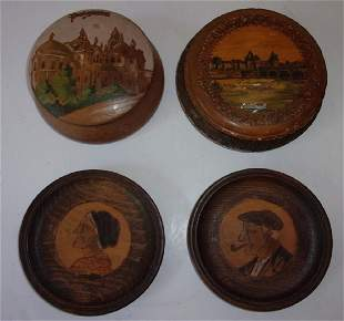 4 antique hand crafted containers covers