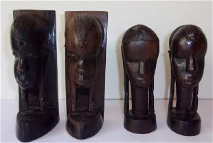 Contemporary West African ebony bookends