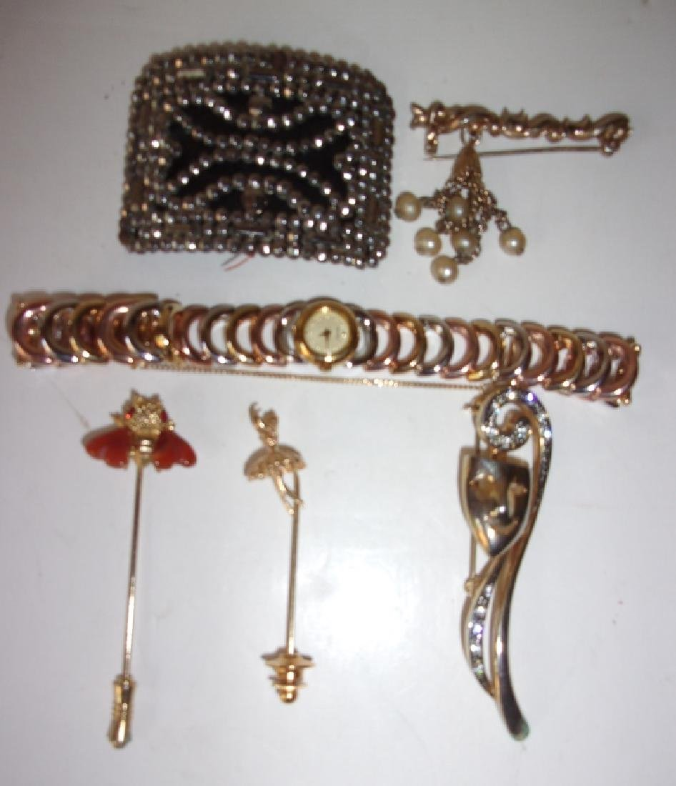 6 vintage costume jewelry pins & watch lot