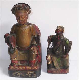 2 wood carved painted statues