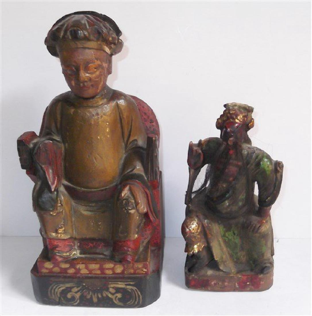 2 wood carved & painted statues