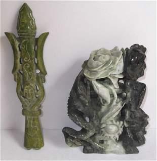 2 jade hard stone figures