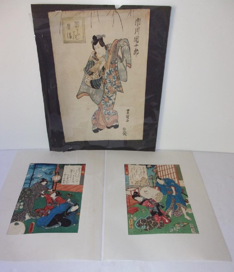 3 original antique Japanese woodblocks