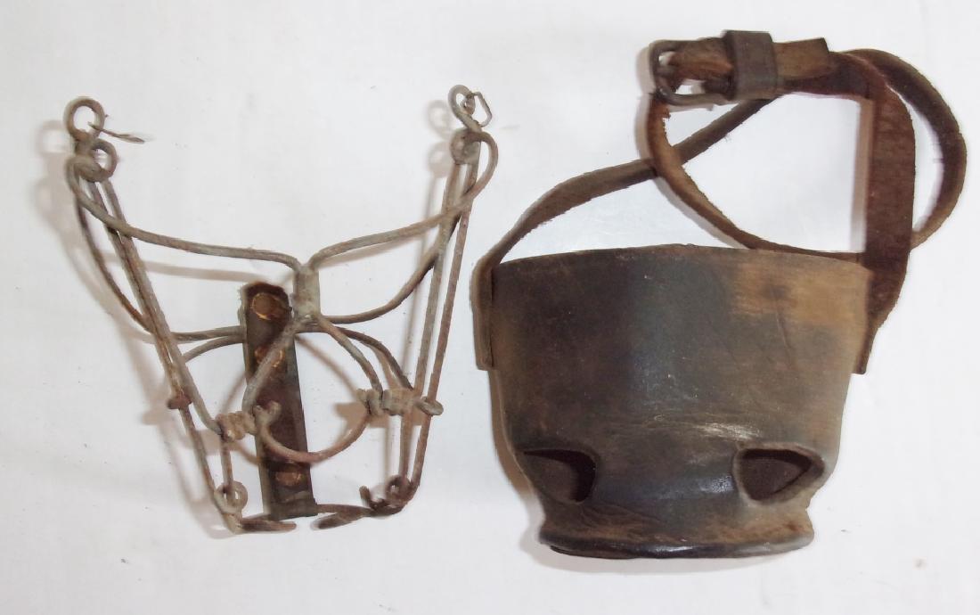2 antique dog muzzles - 4