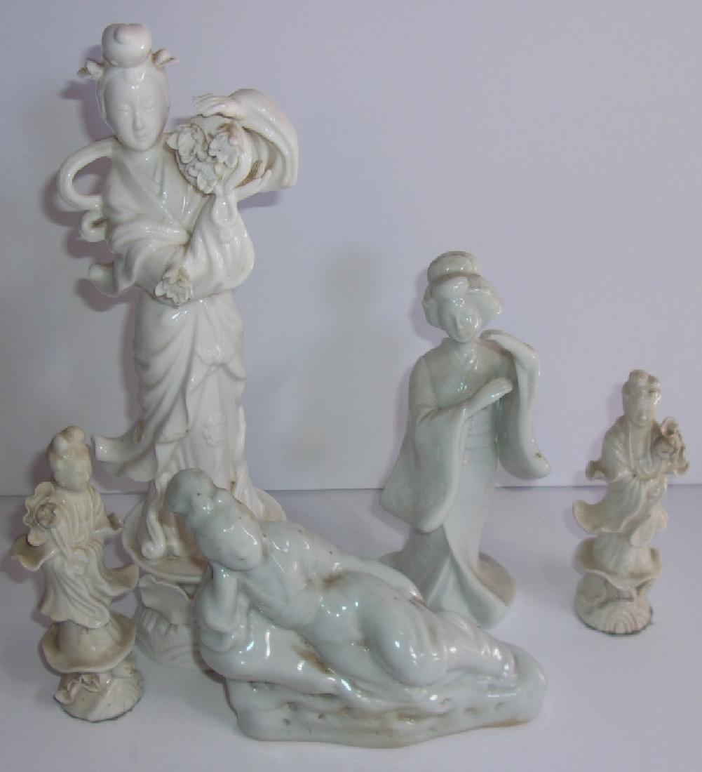 5  antique/vintage blanc-de-chine Chinese statues