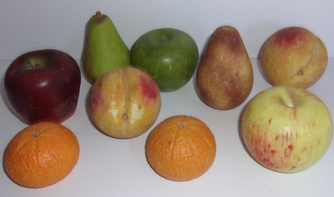 9 antique Chinese marble fruits