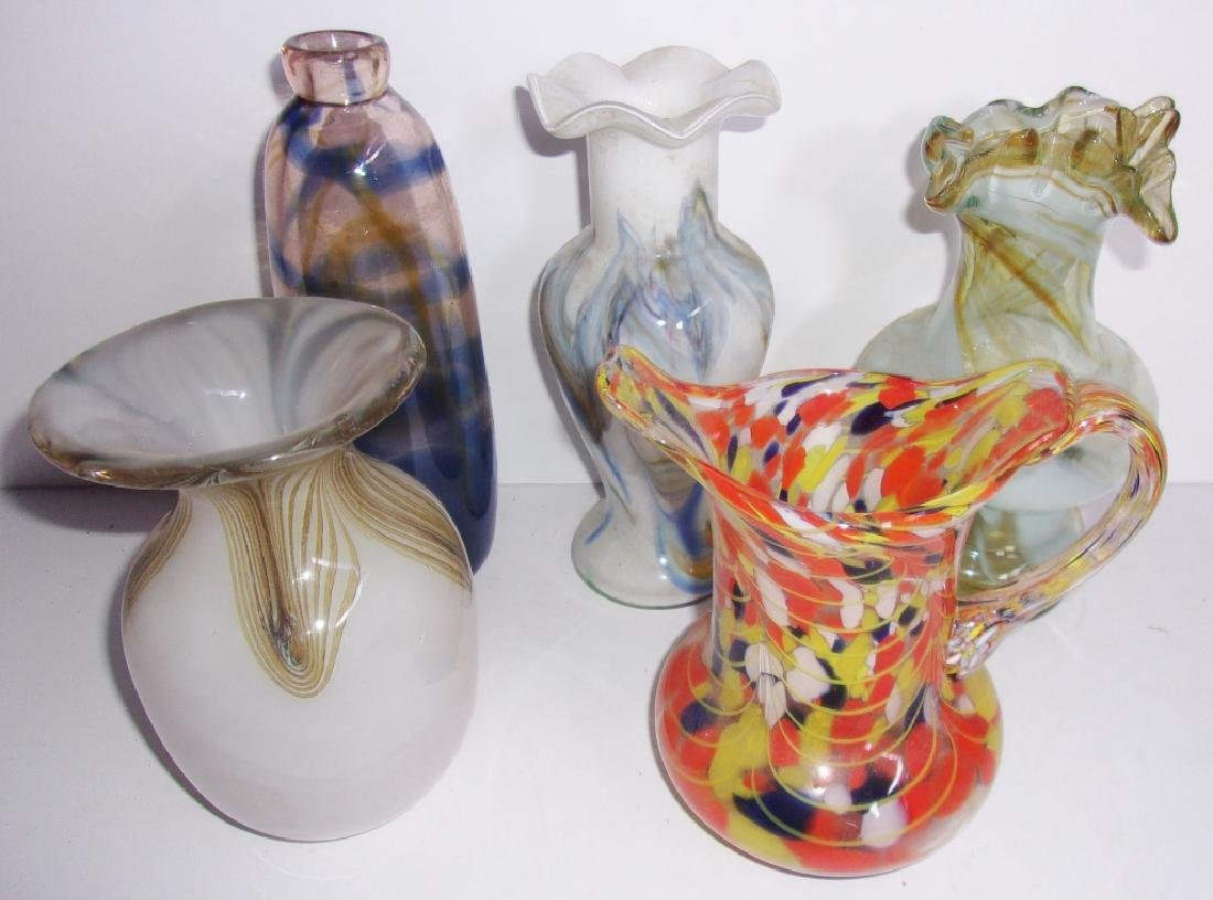 5 piece mid-century art glass lot