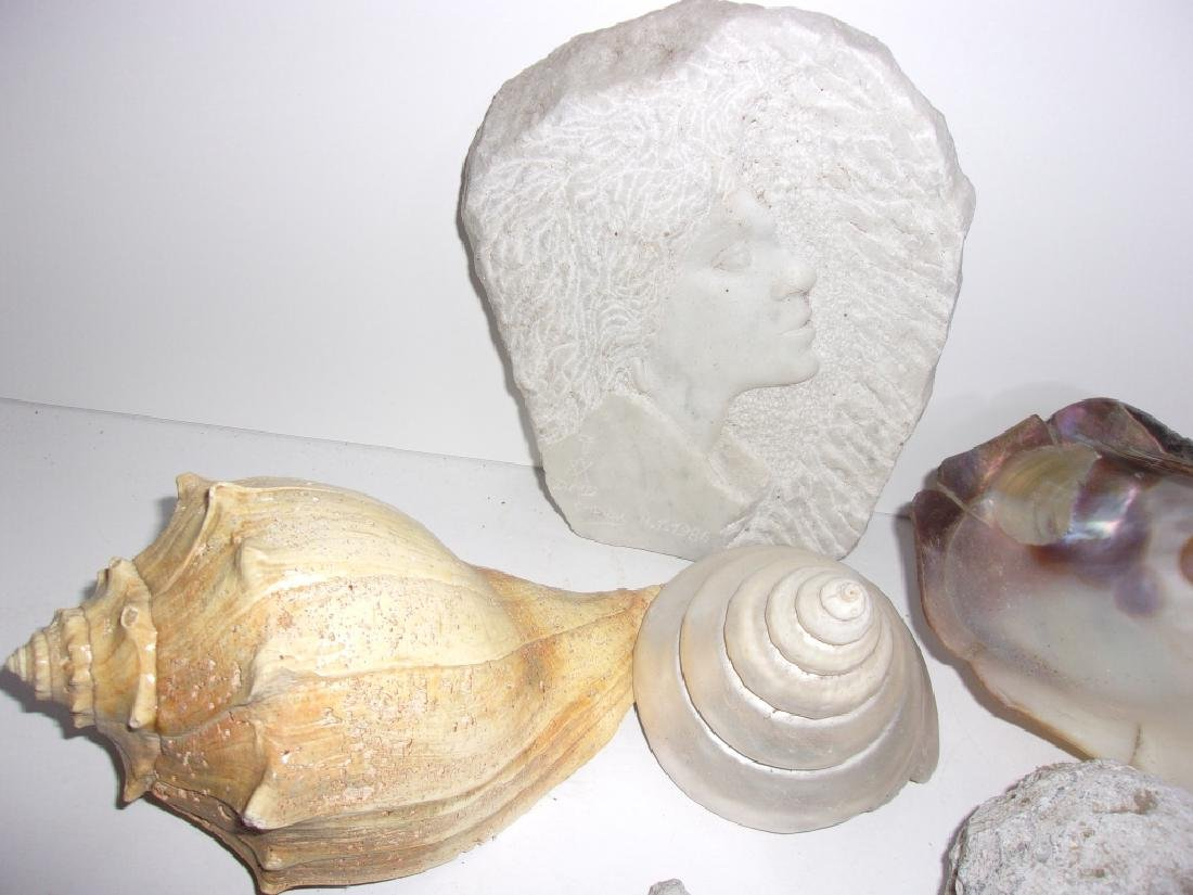 collection of shells, fossils, carved stone, geode - 4