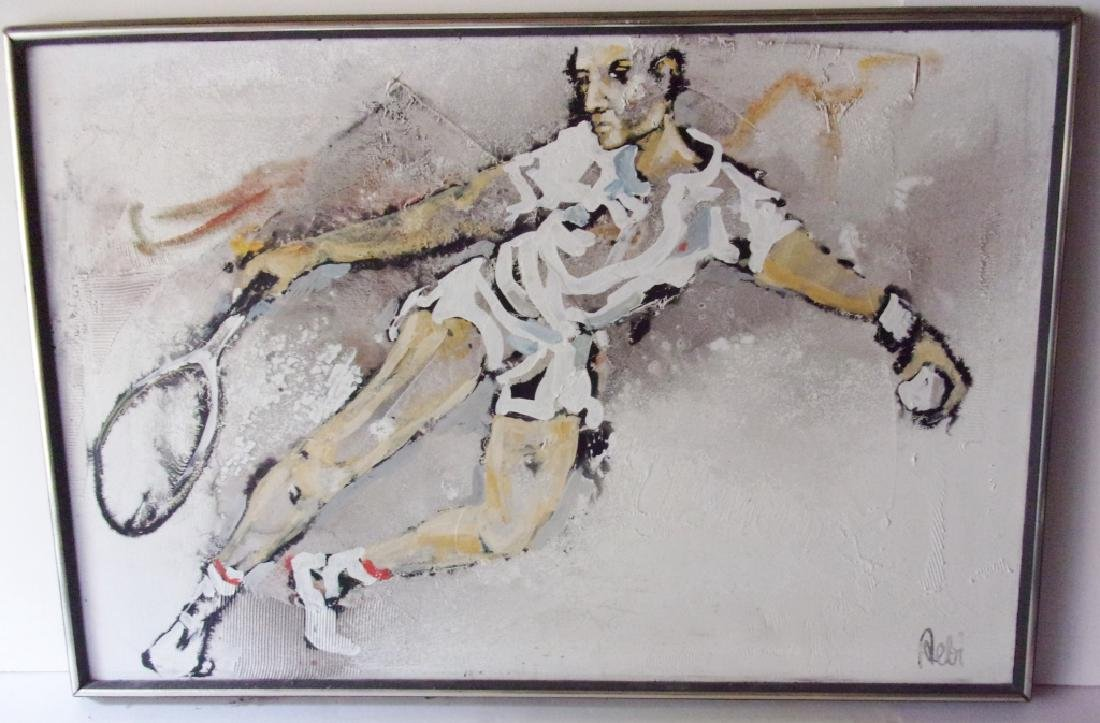 Large oil on canvas of man playing tennis signed