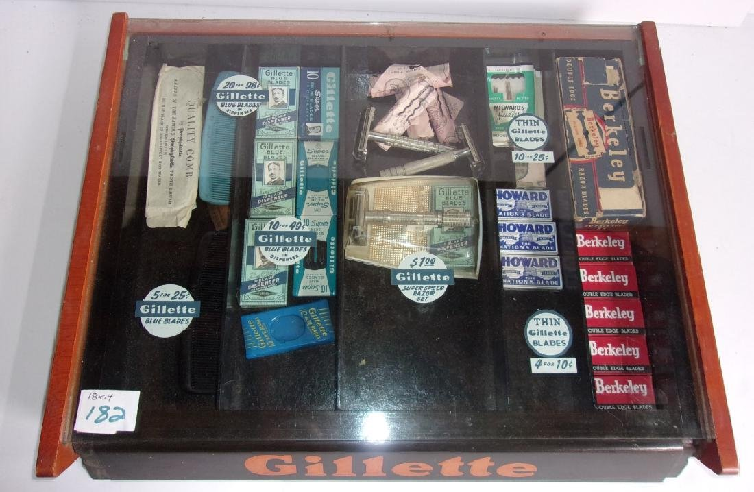 vintage Gillette display case with contents - 2