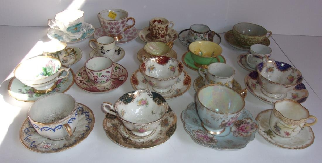 19 vintage assorted cups and saucers sets