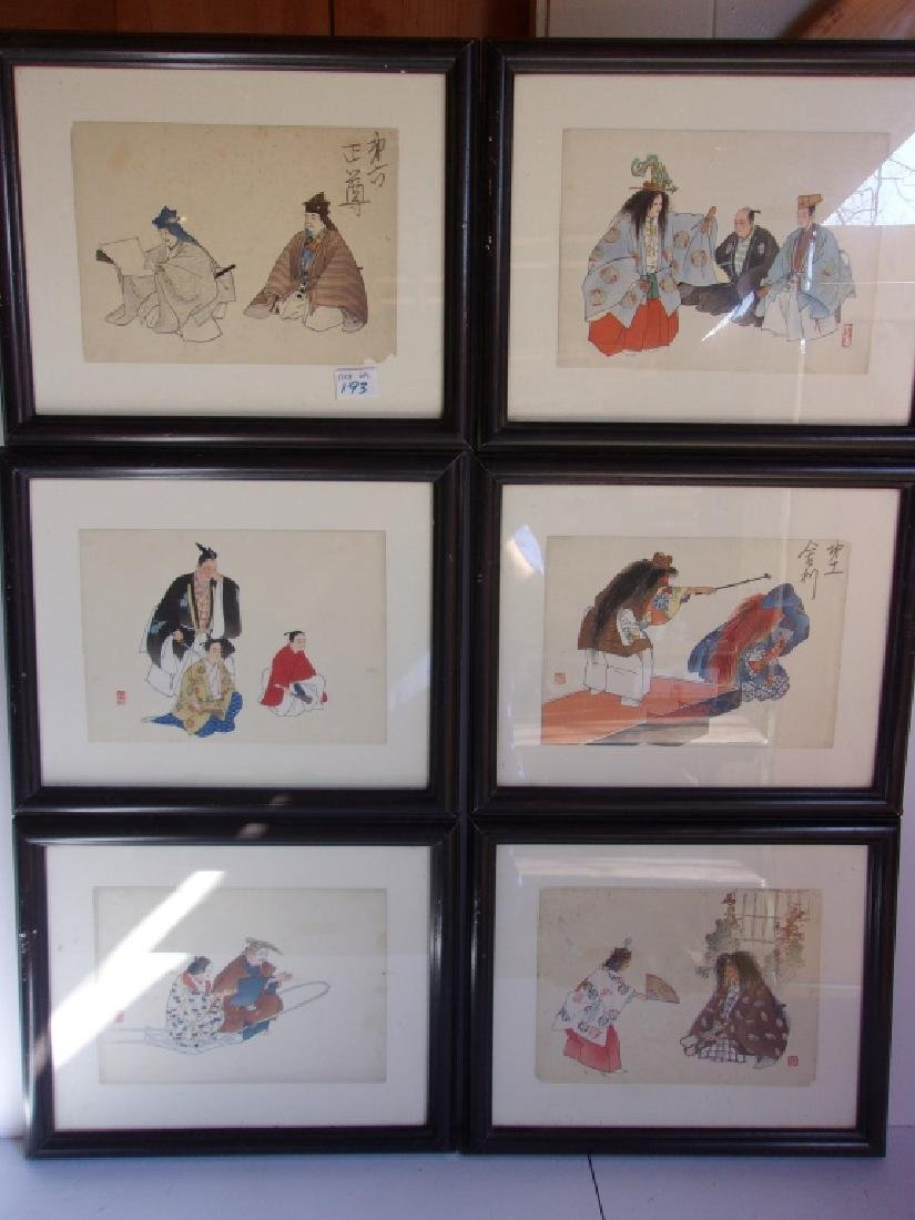 6 vintage Japanese framed wood blocks