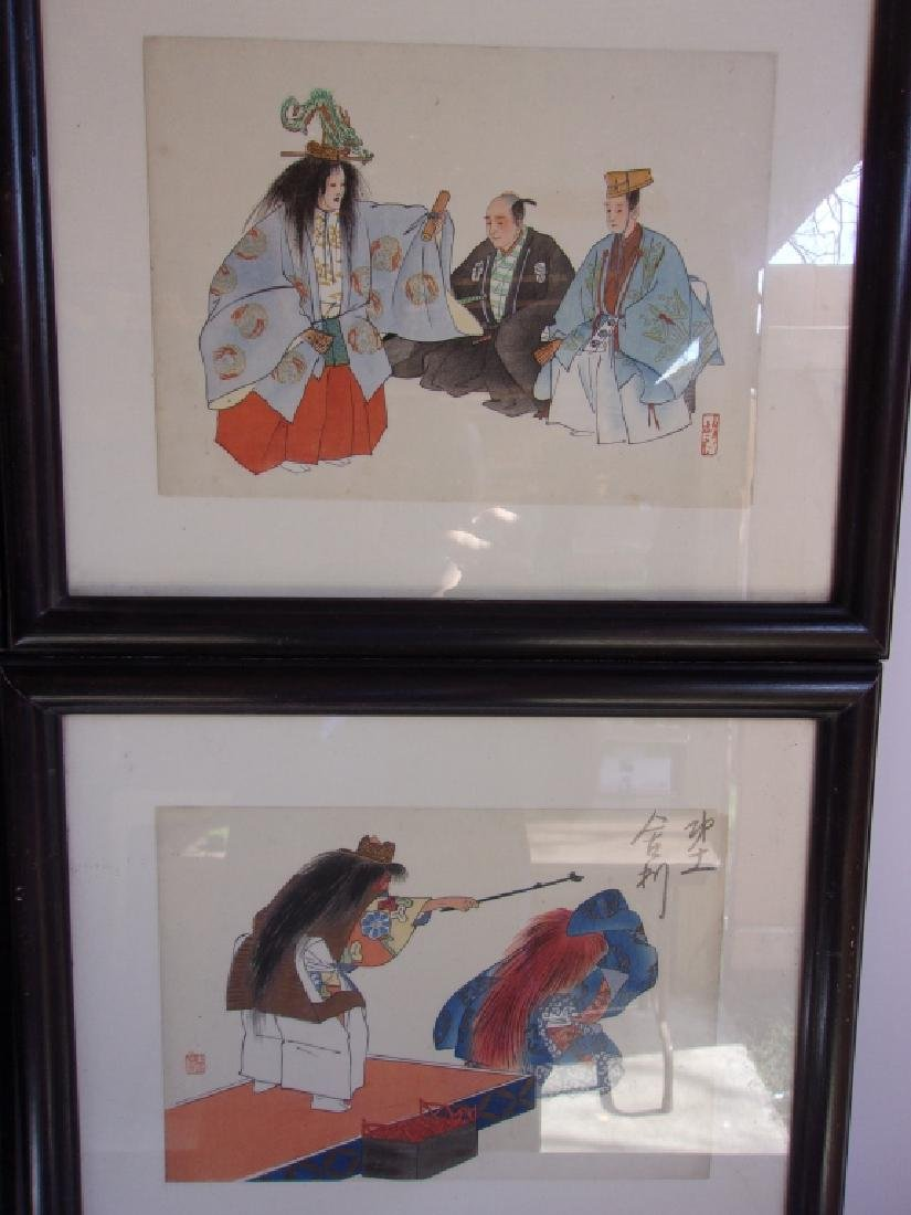 6 vintage Japanese framed wood blocks - 2