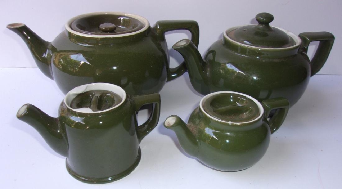 4 mid century Hall teapots