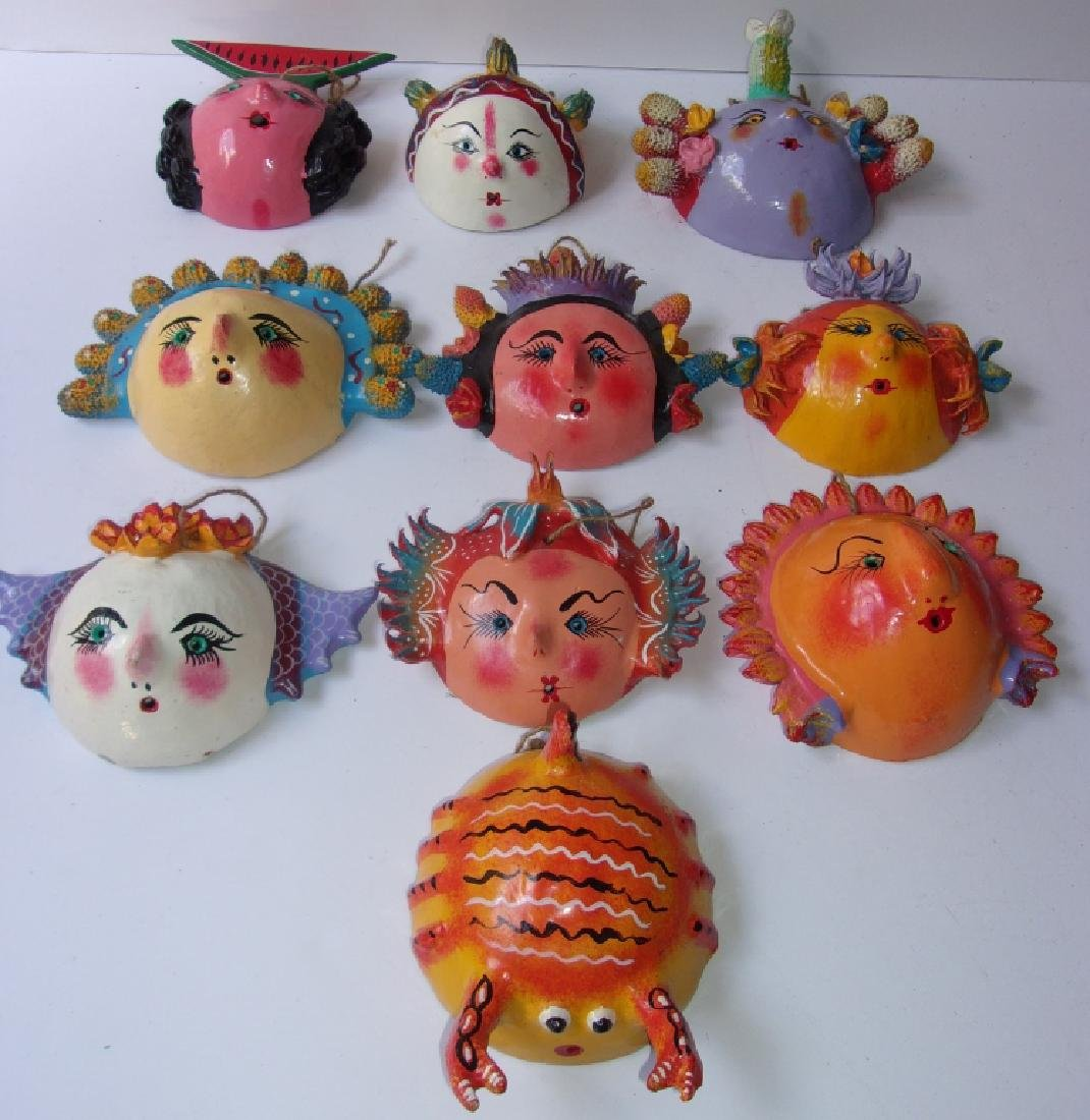 10 Mexican hand-painted coconut shell face masks